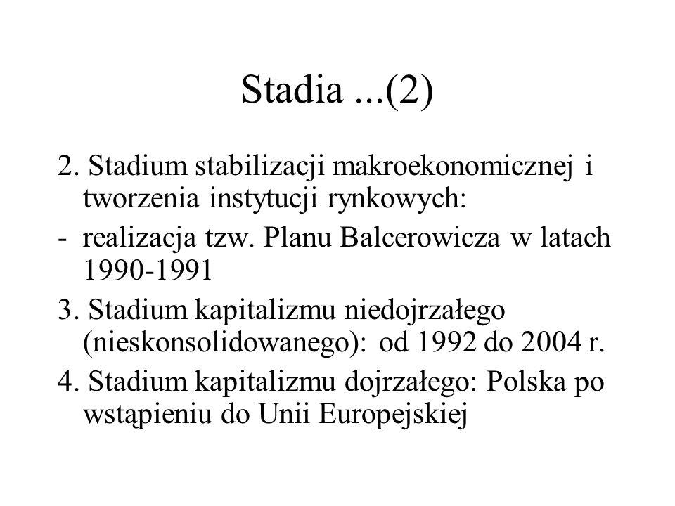 Stadia...(2) 2. Stadium stabilizacji makroekonomicznej i tworzenia instytucji rynkowych: -realizacja tzw. Planu Balcerowicza w latach 1990-1991 3. Sta