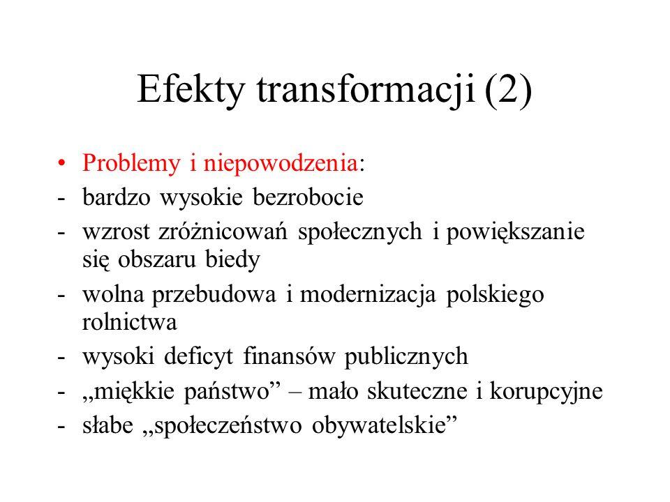 Efekty transformacji (2) Problemy i niepowodzenia: -bardzo wysokie bezrobocie -wzrost zróżnicowań społecznych i powiększanie się obszaru biedy -wolna