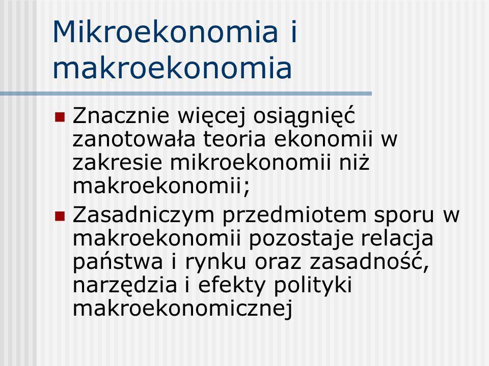 Mikroekonomia i makroekonomia Znacznie więcej osiągnięć zanotowała teoria ekonomii w zakresie mikroekonomii niż makroekonomii; Zasadniczym przedmiotem
