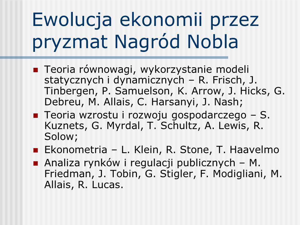 Ewolucja ekonomii przez pryzmat Nagród Nobla Teoria równowagi, wykorzystanie modeli statycznych i dynamicznych – R. Frisch, J. Tinbergen, P. Samuelson
