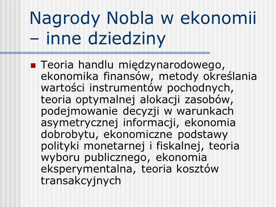 Nagrody Nobla w ekonomii – inne dziedziny Teoria handlu międzynarodowego, ekonomika finansów, metody określania wartości instrumentów pochodnych, teor