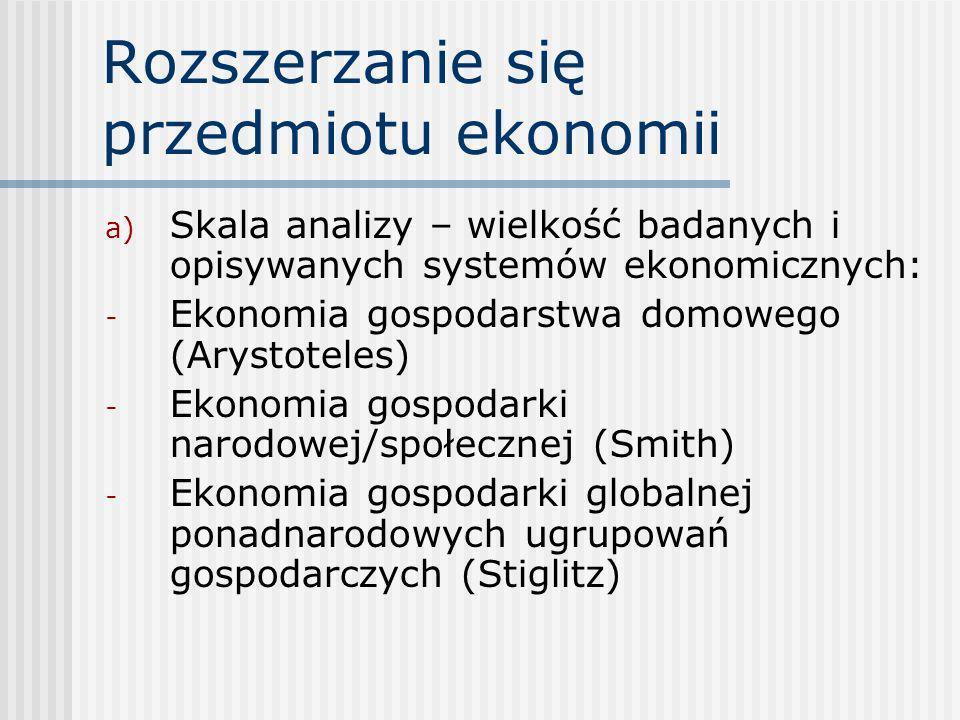 Rozszerzanie się przedmiotu ekonomii a) Skala analizy – wielkość badanych i opisywanych systemów ekonomicznych: - Ekonomia gospodarstwa domowego (Arys