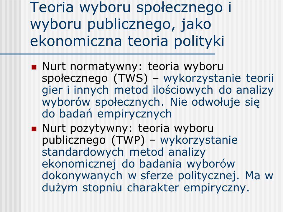 Teoria wyboru społecznego i wyboru publicznego, jako ekonomiczna teoria polityki Nurt normatywny: teoria wyboru społecznego (TWS) – wykorzystanie teor