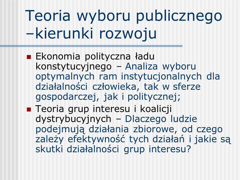 Teoria wyboru publicznego –kierunki rozwoju Ekonomia polityczna ładu konstytucyjnego – Analiza wyboru optymalnych ram instytucjonalnych dla działalnoś