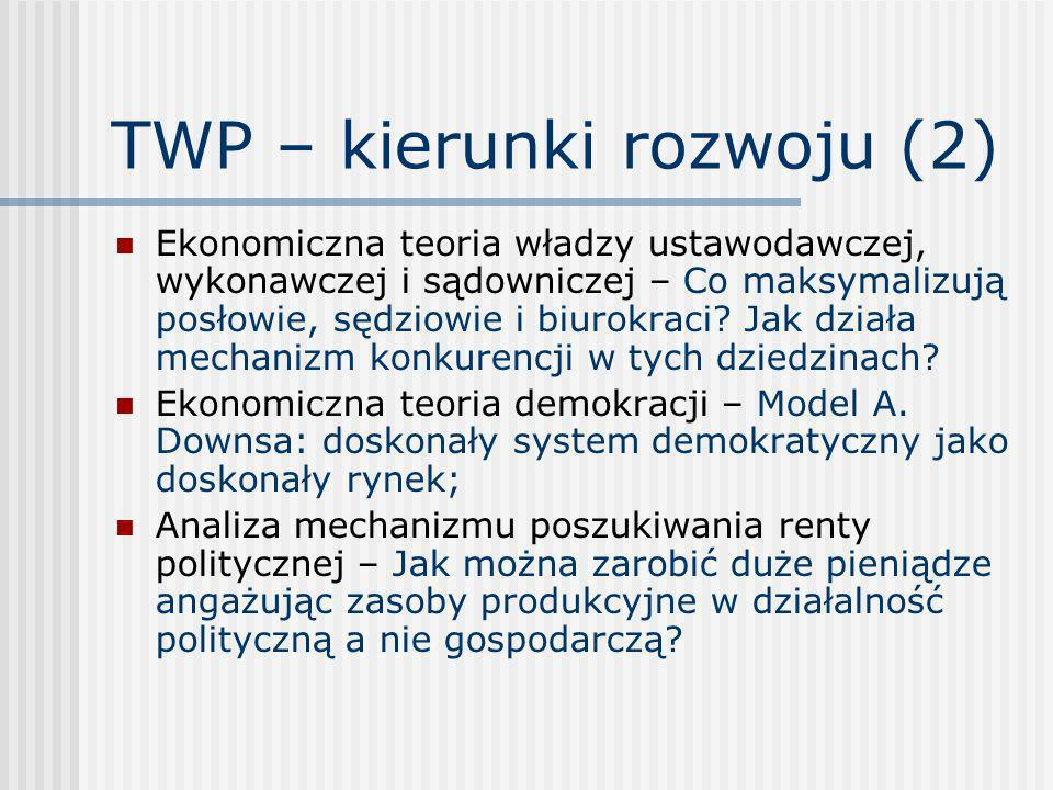 TWP – kierunki rozwoju (2) Ekonomiczna teoria władzy ustawodawczej, wykonawczej i sądowniczej – Co maksymalizują posłowie, sędziowie i biurokraci? Jak