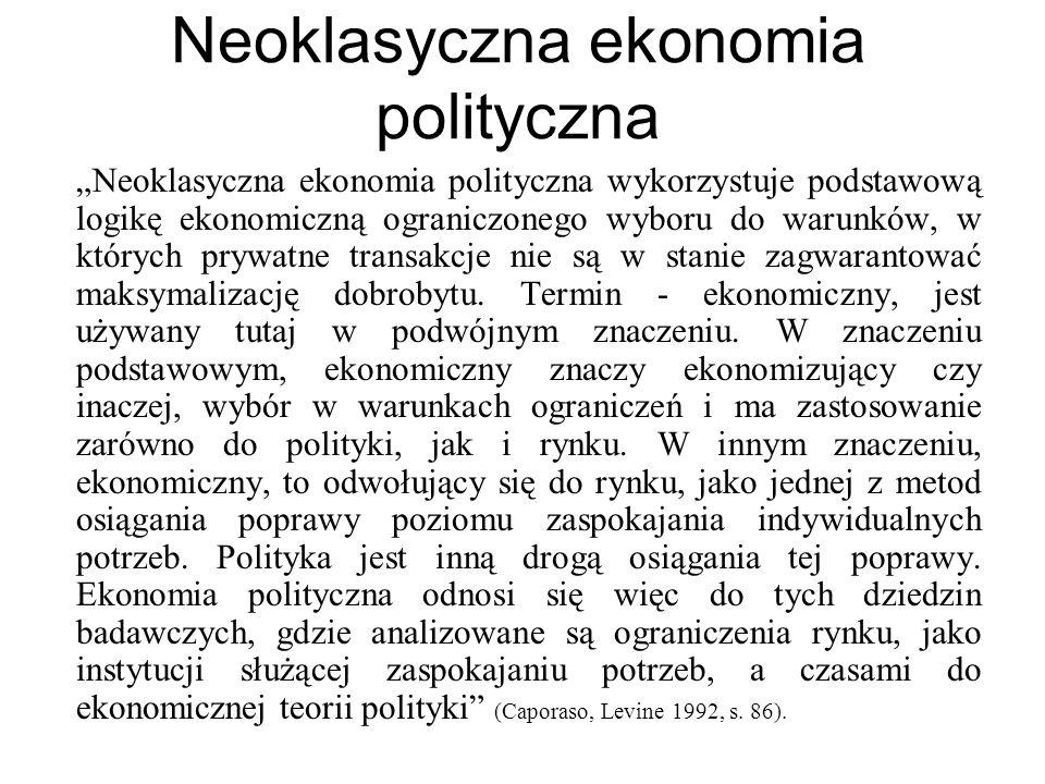 Neoklasyczna ekonomia polityczna Neoklasyczna ekonomia polityczna wykorzystuje podstawową logikę ekonomiczną ograniczonego wyboru do warunków, w który