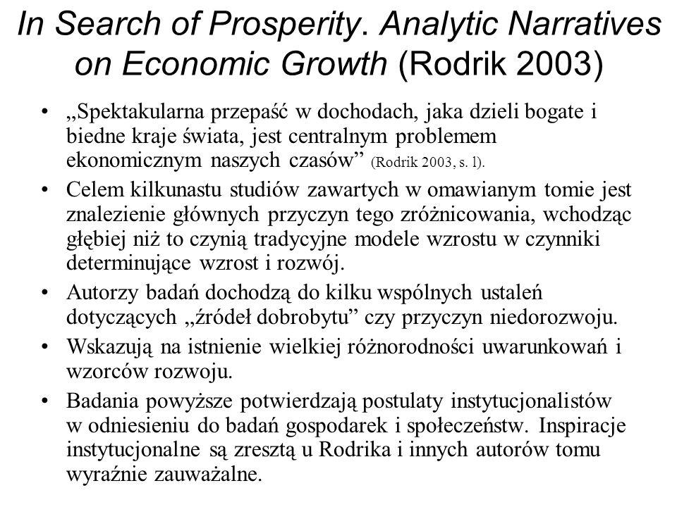 In Search of Prosperity. Analytic Narratives on Economic Growth (Rodrik 2003) Spektakularna przepaść w dochodach, jaka dzieli bogate i biedne kraje św