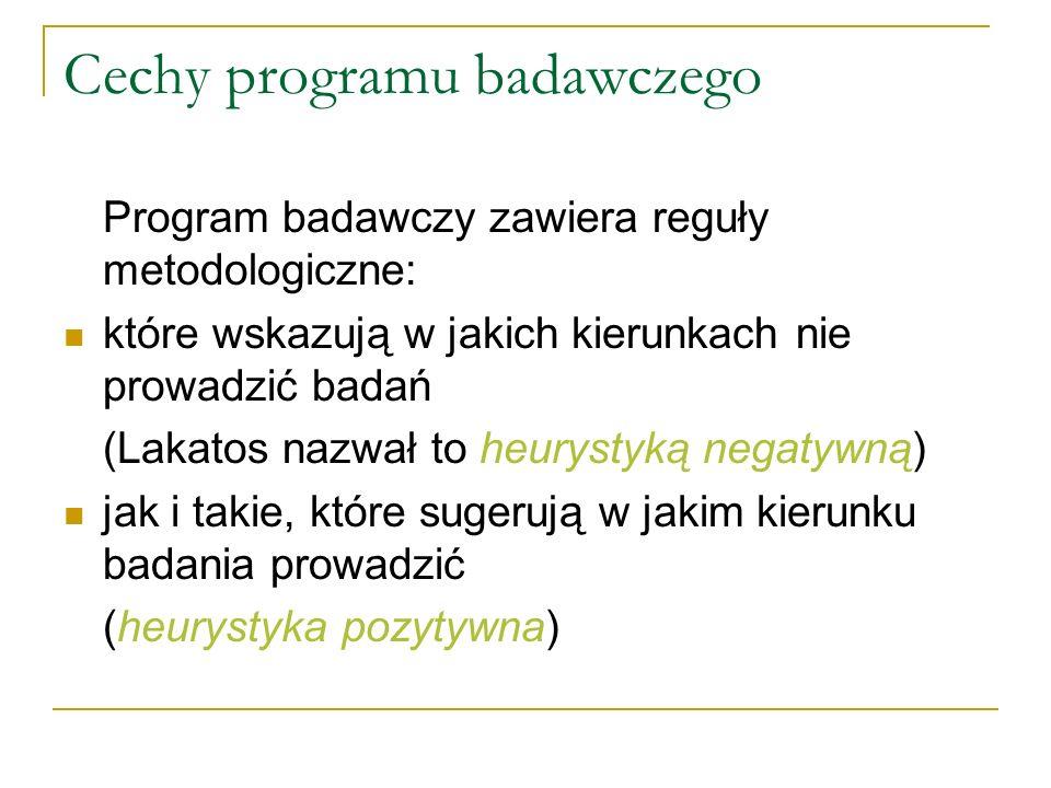 Cechy programu badawczego Program badawczy zawiera reguły metodologiczne: które wskazują w jakich kierunkach nie prowadzić badań (Lakatos nazwał to he