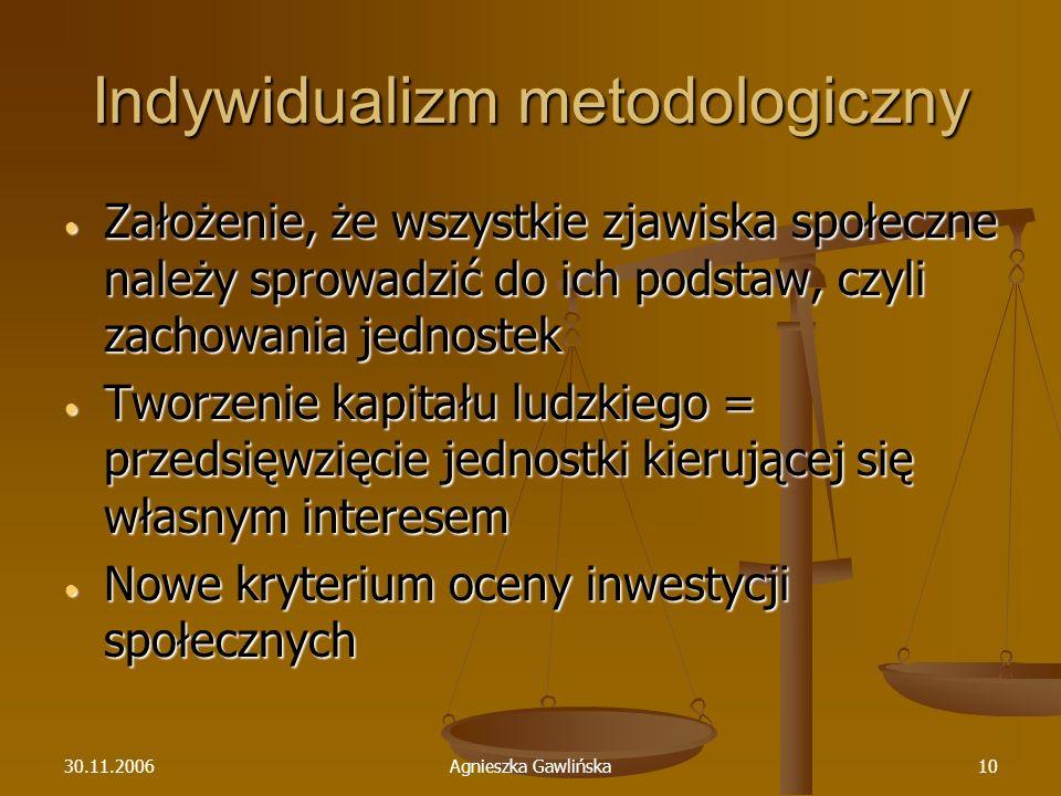 30.11.2006Agnieszka Gawlińska10 Indywidualizm metodologiczny Założenie, że wszystkie zjawiska społeczne należy sprowadzić do ich podstaw, czyli zachow