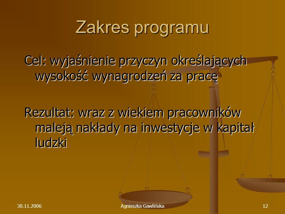 30.11.2006Agnieszka Gawlińska12 Zakres programu Cel: wyjaśnienie przyczyn określających wysokość wynagrodzeń za pracę Rezultat: wraz z wiekiem pracown