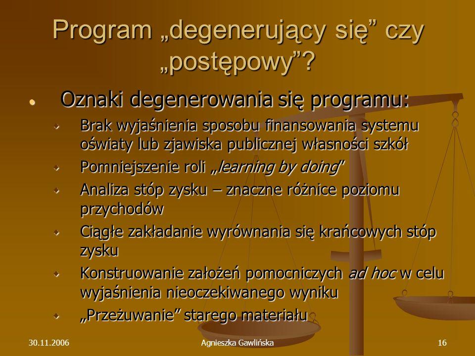 30.11.2006Agnieszka Gawlińska16 Program degenerujący się czy postępowy? Oznaki degenerowania się programu: Oznaki degenerowania się programu: Brak wyj