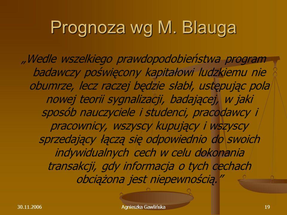 30.11.2006Agnieszka Gawlińska19 Prognoza wg M. Blauga Wedle wszelkiego prawdopodobieństwa program badawczy poświęcony kapitałowi ludzkiemu nie obumrze