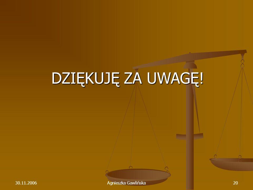 30.11.2006Agnieszka Gawlińska20 DZIĘKUJĘ ZA UWAGĘ!