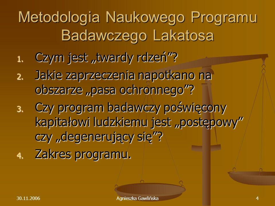 30.11.2006Agnieszka Gawlińska4 Metodologia Naukowego Programu Badawczego Lakatosa 1. Czym jest twardy rdzeń? 2. Jakie zaprzeczenia napotkano na obszar