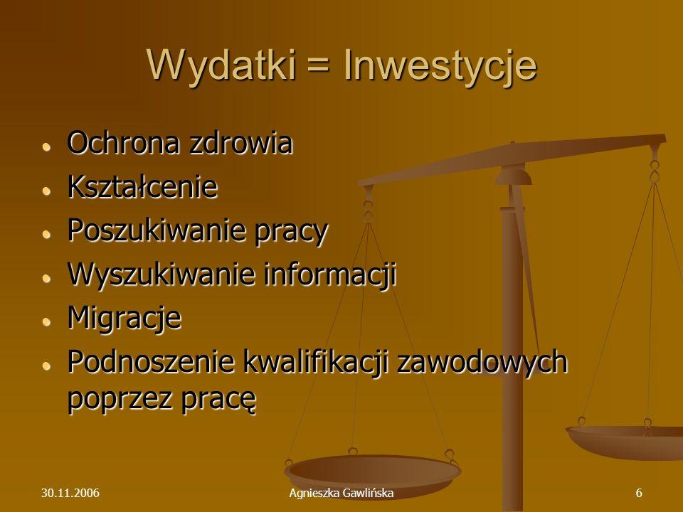 30.11.2006Agnieszka Gawlińska6 Wydatki = Inwestycje Ochrona zdrowia Ochrona zdrowia Kształcenie Kształcenie Poszukiwanie pracy Poszukiwanie pracy Wysz
