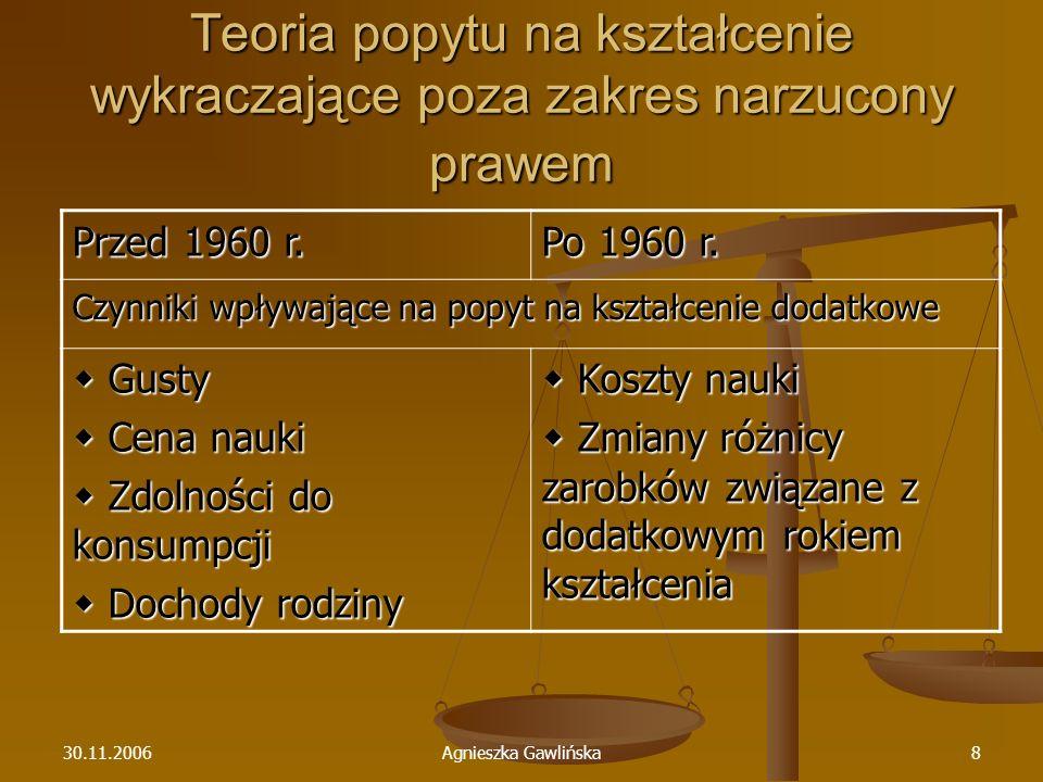 30.11.2006Agnieszka Gawlińska8 Teoria popytu na kształcenie wykraczające poza zakres narzucony prawem Przed 1960 r. Po 1960 r. Czynniki wpływające na