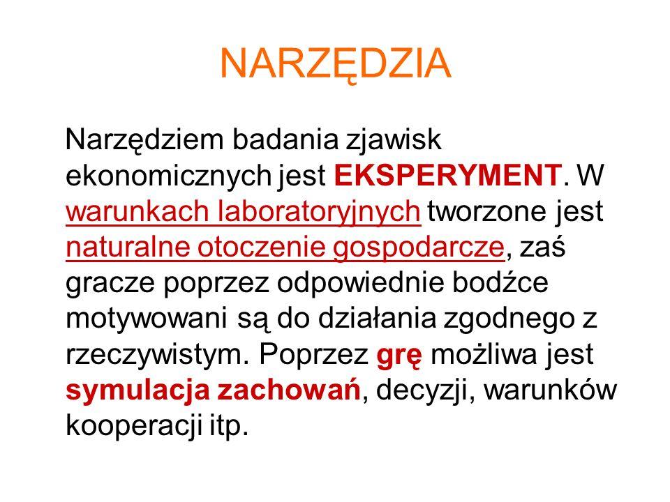 NARZĘDZIA Narzędziem badania zjawisk ekonomicznych jest EKSPERYMENT.
