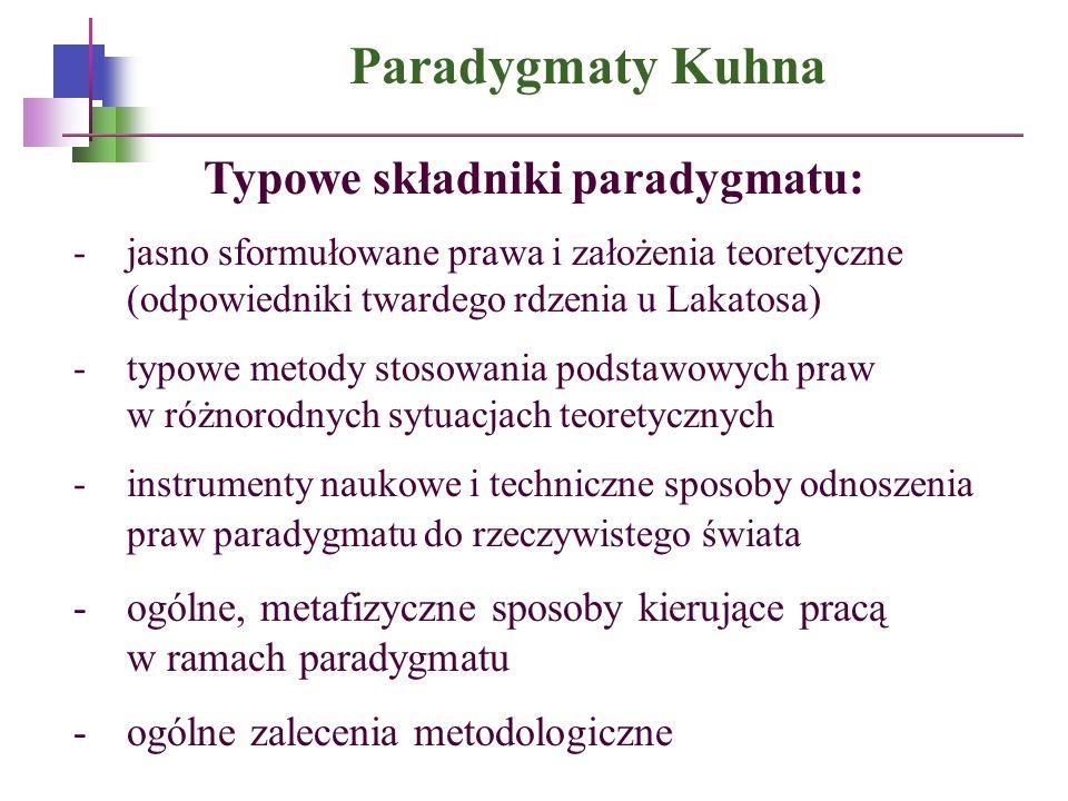 Paradygmaty Kuhna Typowe składniki paradygmatu: -jasno sformułowane prawa i założenia teoretyczne (odpowiedniki twardego rdzenia u Lakatosa) -typowe m