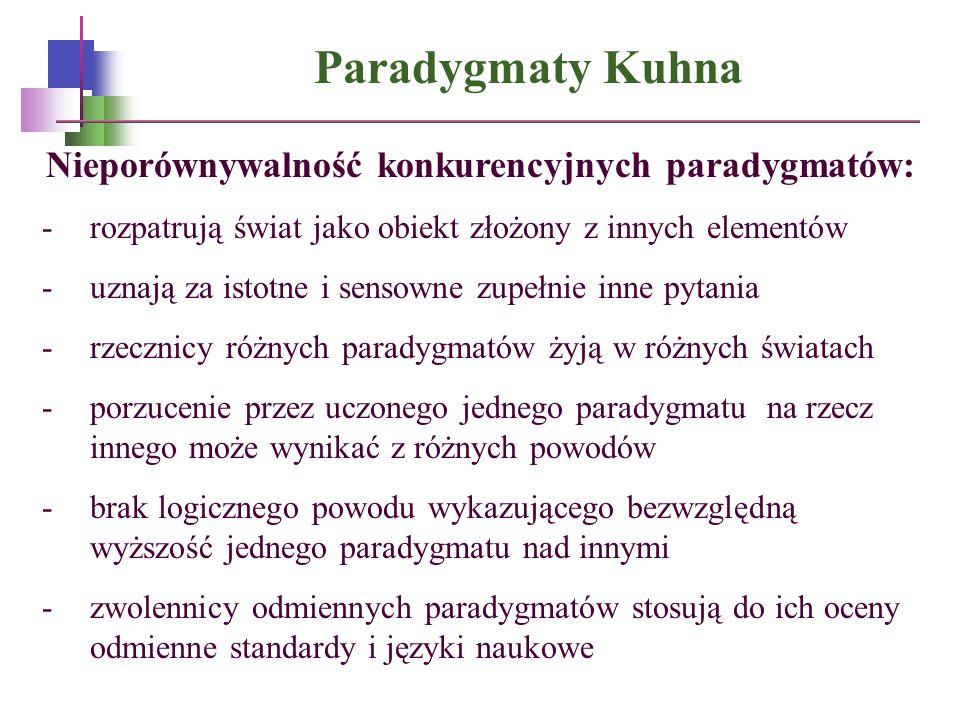 Paradygmaty Kuhna Nieporównywalność konkurencyjnych paradygmatów: -rozpatrują świat jako obiekt złożony z innych elementów -uznają za istotne i sensow