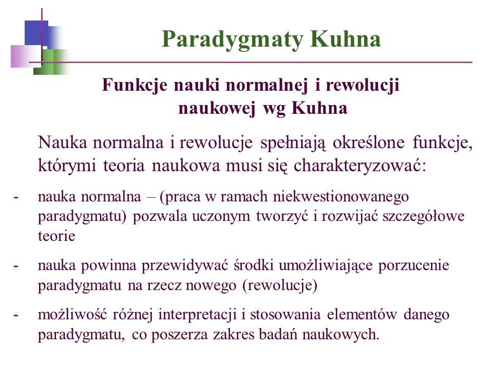 Paradygmaty Kuhna Funkcje nauki normalnej i rewolucji naukowej wg Kuhna Nauka normalna i rewolucje spełniają określone funkcje, którymi teoria naukowa