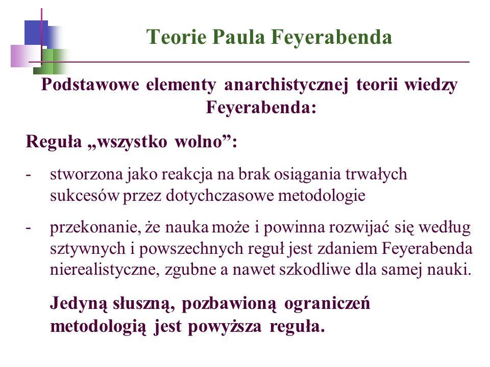 Teorie Paula Feyerabenda Podstawowe elementy anarchistycznej teorii wiedzy Feyerabenda: Reguła wszystko wolno: -stworzona jako reakcja na brak osiągan