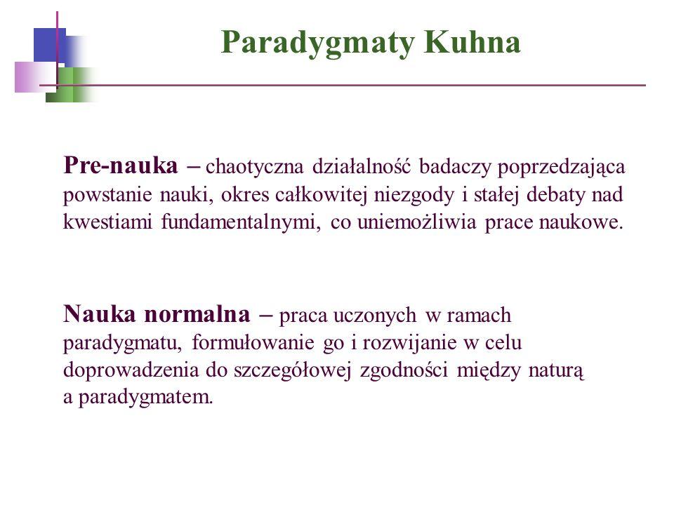 Paradygmaty Kuhna Pre-nauka – chaotyczna działalność badaczy poprzedzająca powstanie nauki, okres całkowitej niezgody i stałej debaty nad kwestiami fu