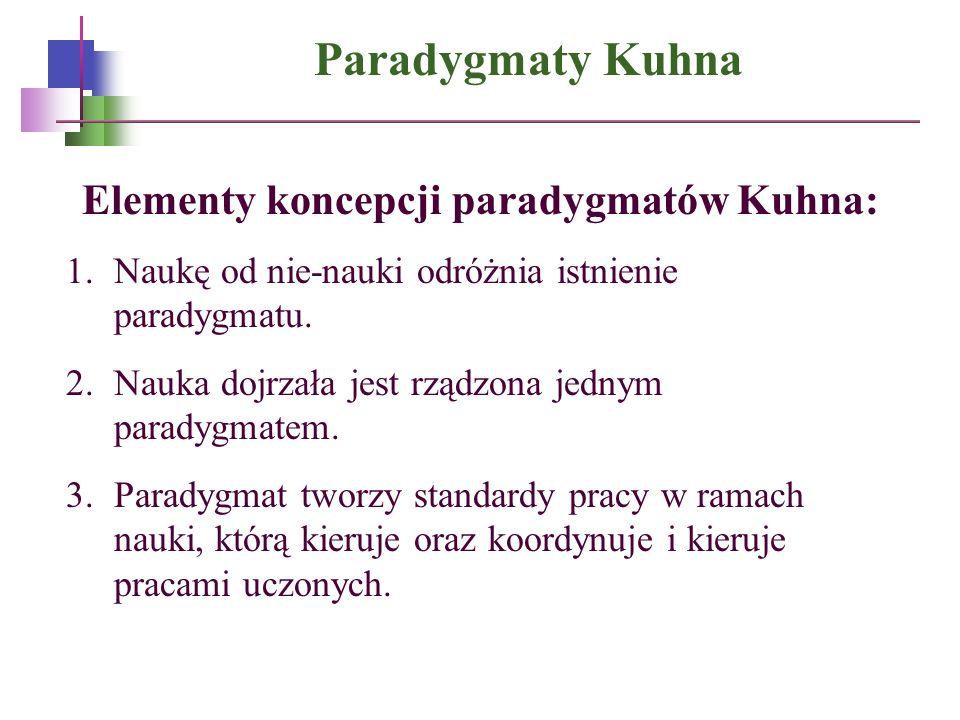 Paradygmaty Kuhna Elementy koncepcji paradygmatów Kuhna: 1.Naukę od nie-nauki odróżnia istnienie paradygmatu. 2.Nauka dojrzała jest rządzona jednym pa