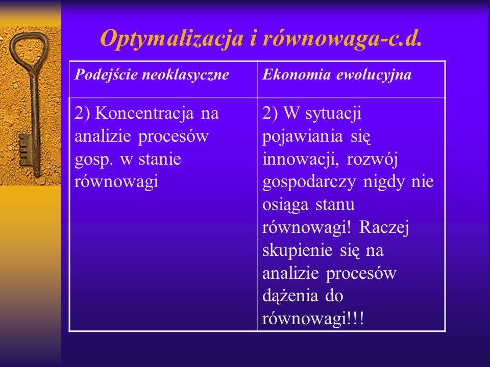 Optymalizacja i równowaga-c.d. Podejście neoklasyczneEkonomia ewolucyjna 2) Koncentracja na analizie procesów gosp. w stanie równowagi 2) W sytuacji p