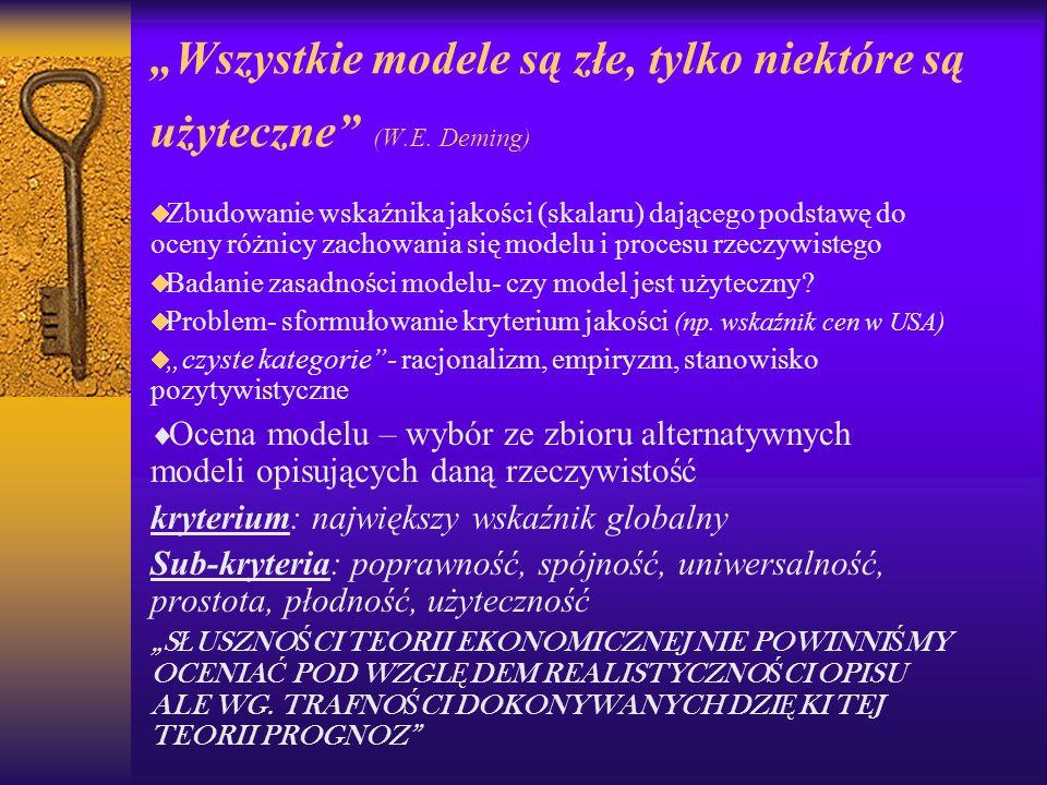 Wszystkie modele są złe, tylko niektóre są użyteczne (W.E. Deming) Zbudowanie wskaźnika jakości (skalaru) dającego podstawę do oceny różnicy zachowani