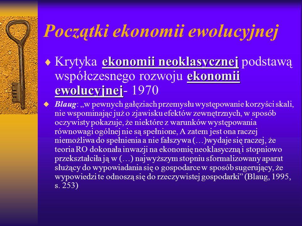 Początki ekonomii ewolucyjnej ekonomii neoklasycznej ekonomii ewolucyjnej Krytyka ekonomii neoklasycznej podstawą współczesnego rozwoju ekonomii ewolu