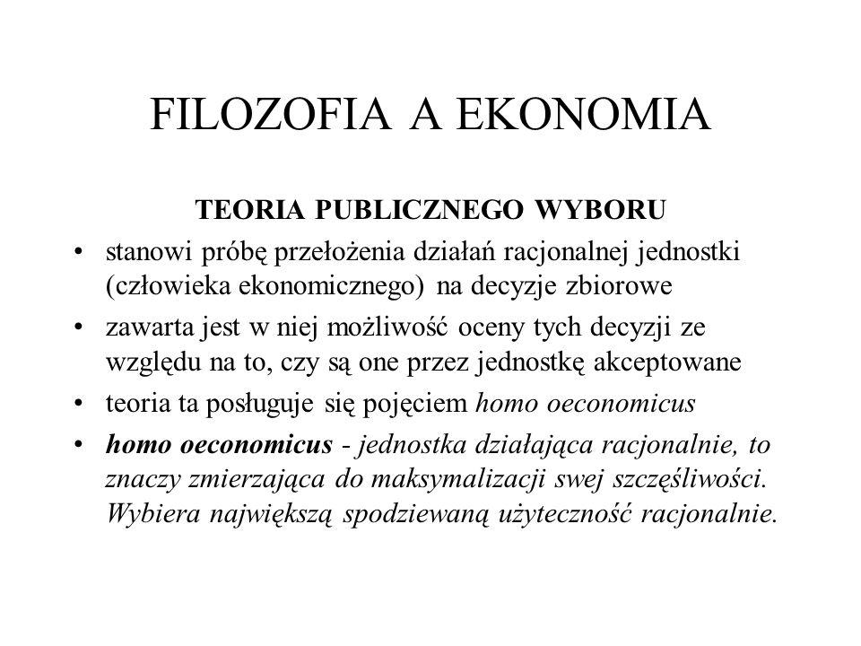FILOZOFIA A EKONOMIA TEORIA PUBLICZNEGO WYBORU stanowi próbę przełożenia działań racjonalnej jednostki (człowieka ekonomicznego) na decyzje zbiorowe z