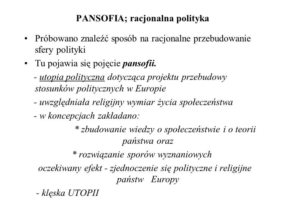 PANSOFIA; racjonalna polityka Próbowano znaleźć sposób na racjonalne przebudowanie sfery polityki Tu pojawia się pojęcie pansofii. - utopia polityczna