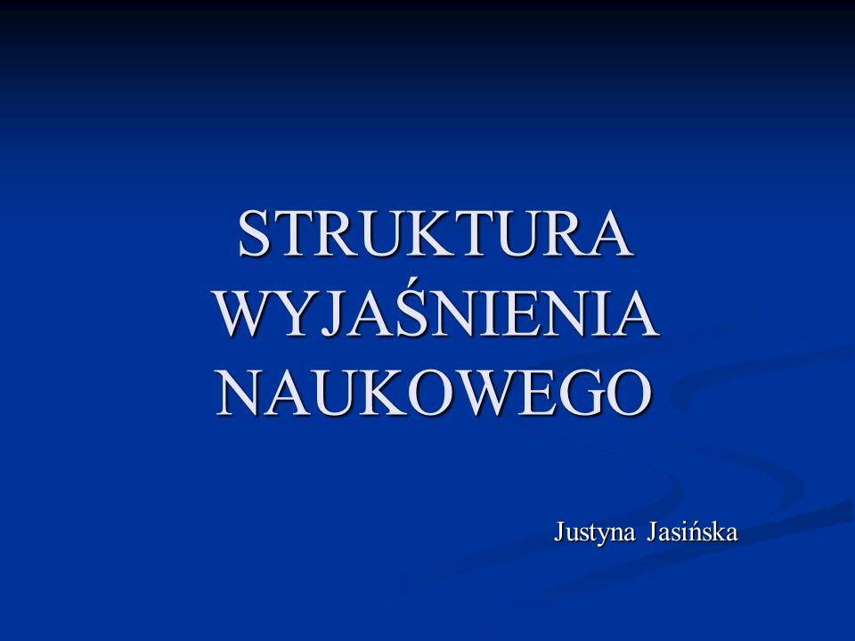 STRUKTURA WYJAŚNIENIA NAUKOWEGO Justyna Jasińska