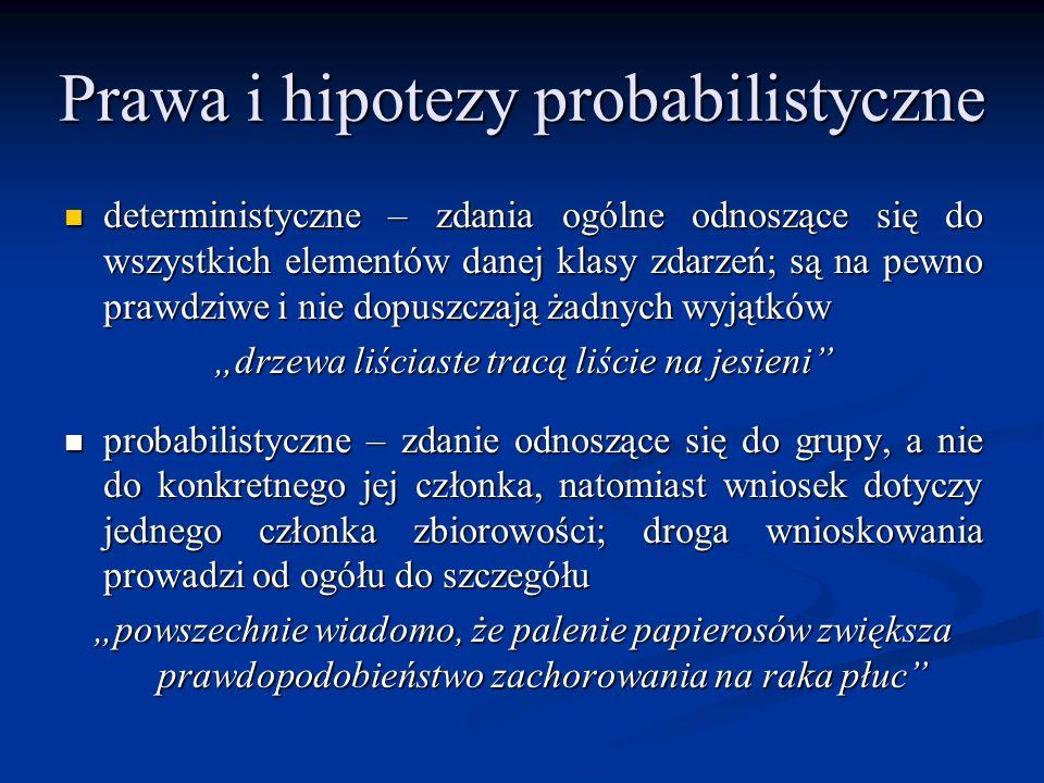 Prawa i hipotezy probabilistyczne deterministyczne – zdania ogólne odnoszące się do wszystkich elementów danej klasy zdarzeń; są na pewno prawdziwe i