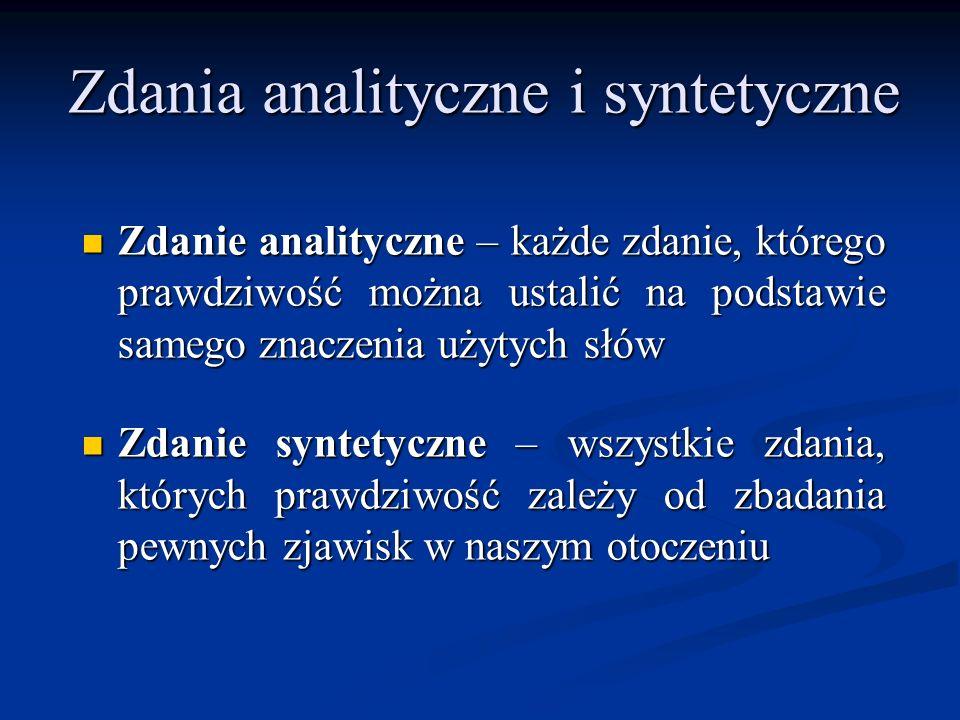 Zdania analityczne i syntetyczne Zdanie analityczne – każde zdanie, którego prawdziwość można ustalić na podstawie samego znaczenia użytych słów Zdani