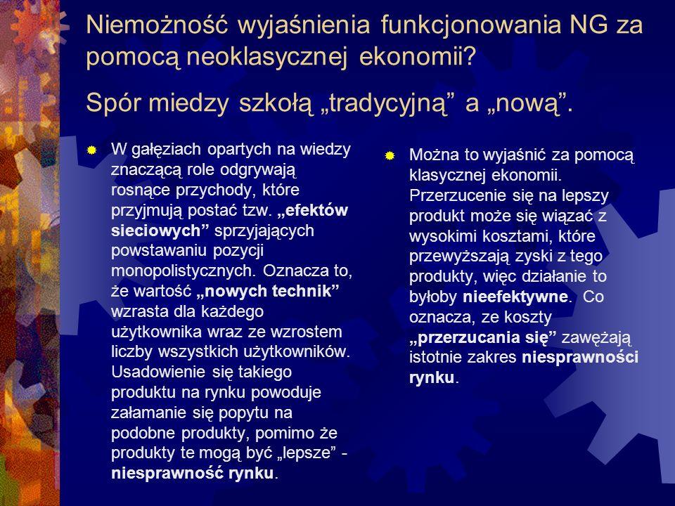 Niemożność wyjaśnienia funkcjonowania NG za pomocą neoklasycznej ekonomii.