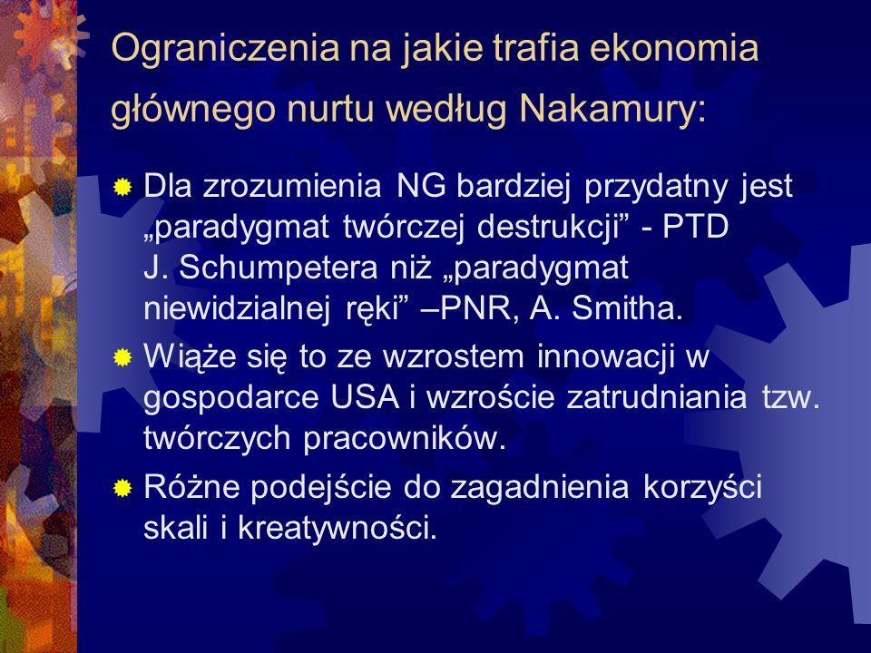 Ograniczenia na jakie trafia ekonomia głównego nurtu według Nakamury: Dla zrozumienia NG bardziej przydatny jest paradygmat twórczej destrukcji - PTD J.