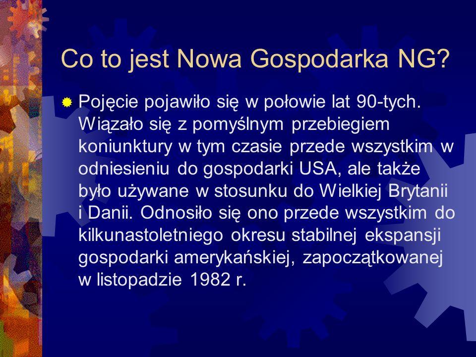 Co to jest Nowa Gospodarka NG. Pojęcie pojawiło się w połowie lat 90-tych.