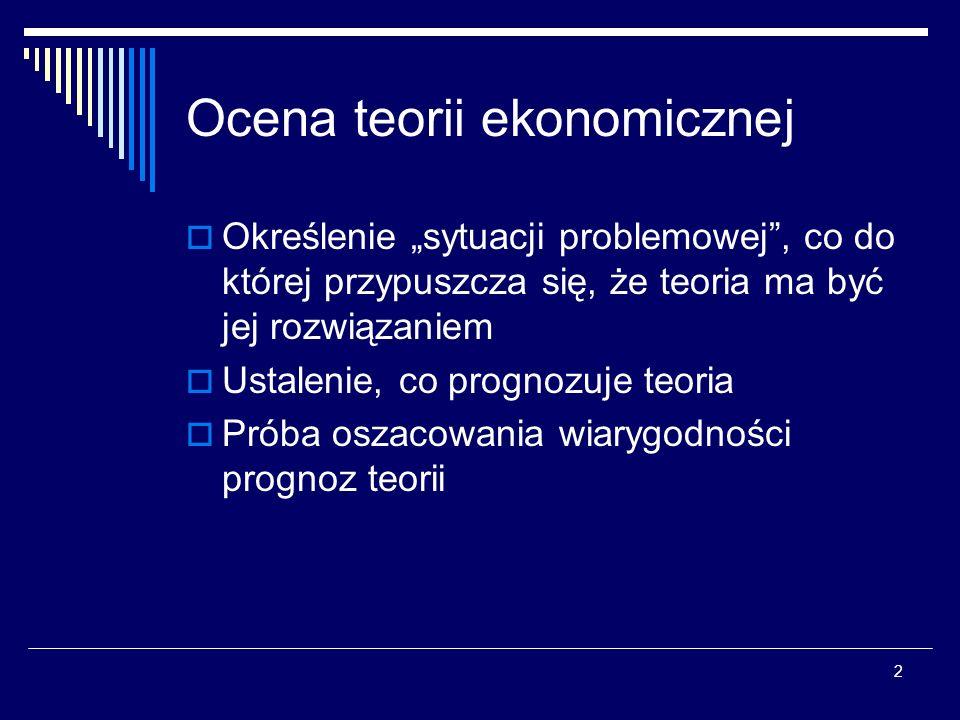 3 Ocena teorii ekonomicznej Teorie naukowe mogą być poprawnie ocenione jedynie w kategoriach konkurencyjnych hipotez.