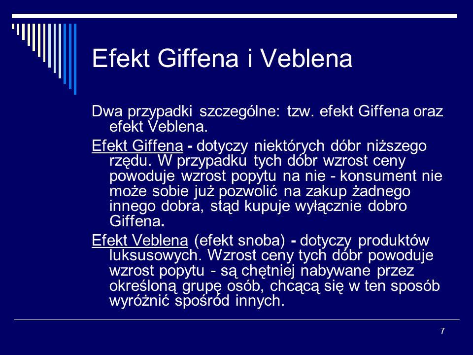 8 Krzywa popytu (efekt Giffena/Veblena) W przypadku efektu Giffena i efektu Veblena krzywa popytu ma odwrotne nachylenie niż w przypadku dóbr zwyczajnych.