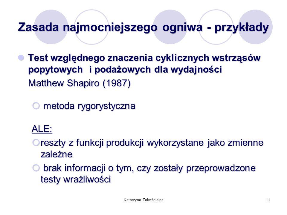 Katarzyna Zakościelna11 Zasada najmocniejszego ogniwa - przykłady Test względnego znaczenia cyklicznych wstrząsów popytowych i podażowych dla wydajnoś