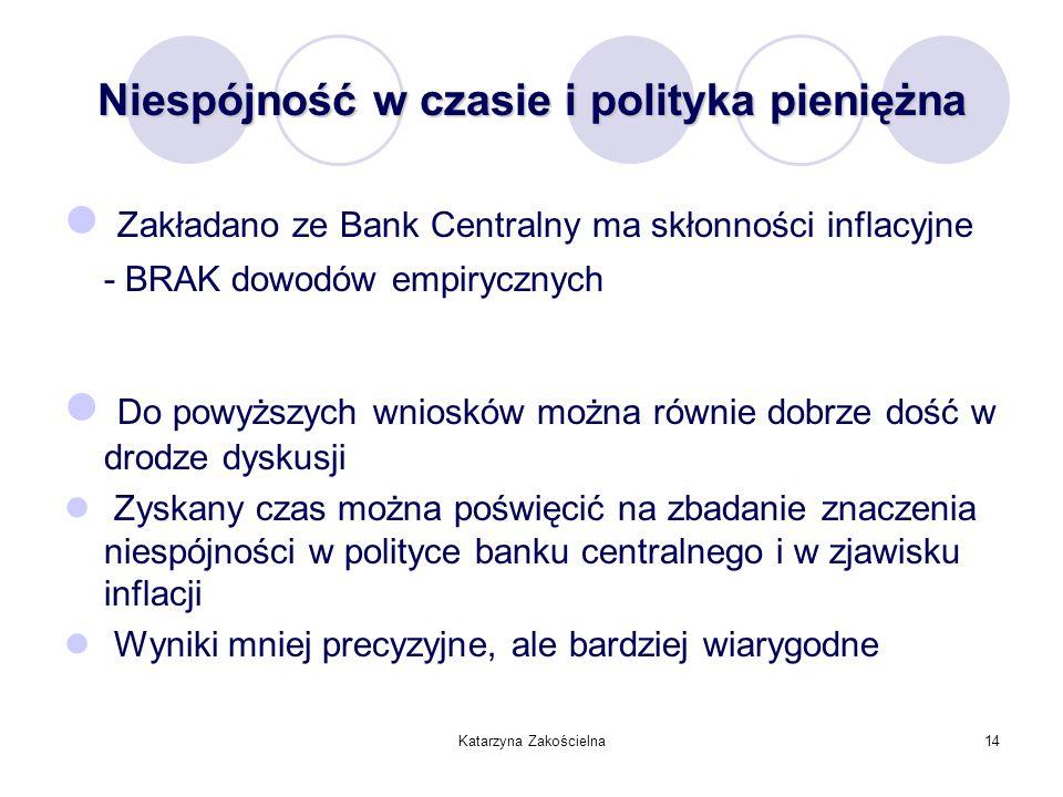 Katarzyna Zakościelna14 Niespójność w czasie i polityka pieniężna Zakładano ze Bank Centralny ma skłonności inflacyjne - BRAK dowodów empirycznych Do