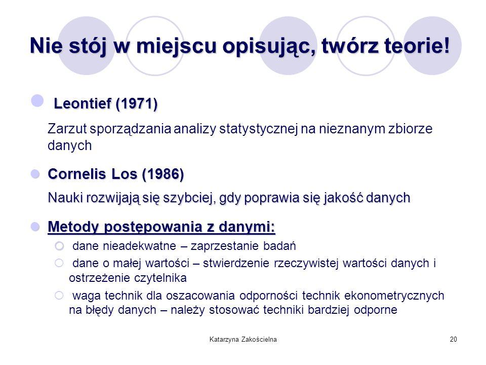 Katarzyna Zakościelna20 Nie stój w miejscu opisując, twórz teorie! Leontief (1971) Zarzut sporządzania analizy statystycznej na nieznanym zbiorze dany