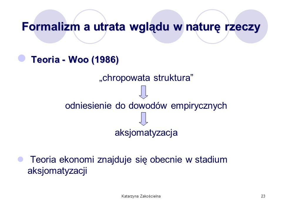 Katarzyna Zakościelna23 Formalizm a utrata wglądu w naturę rzeczy Teoria -Woo (1986) Teoria - Woo (1986) chropowata struktura odniesienie do dowodów e