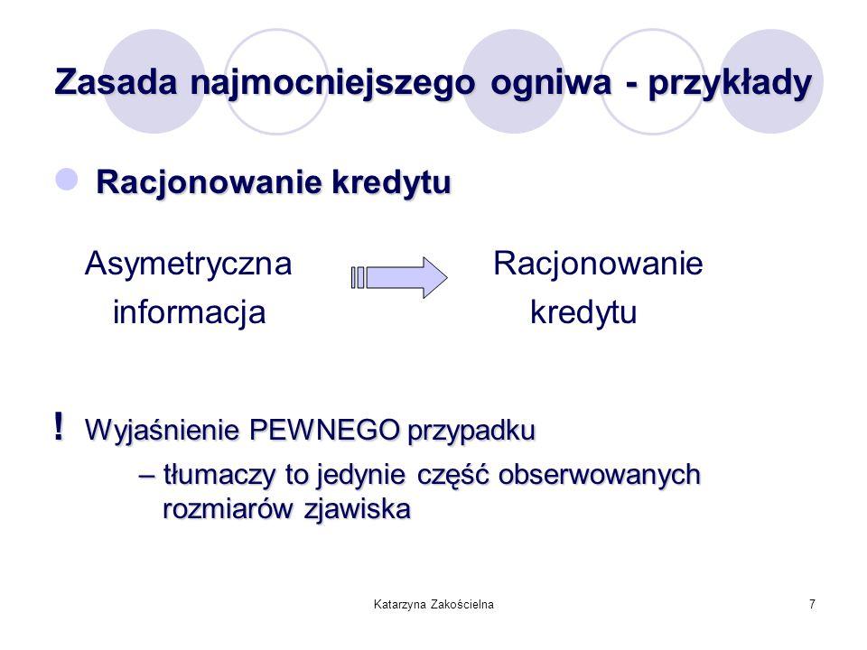 Katarzyna Zakościelna7 Zasada najmocniejszego ogniwa - przykłady Racjonowanie kredytu Asymetryczna Racjonowanie informacja kredytu ! Wyjaśnienie PEWNE