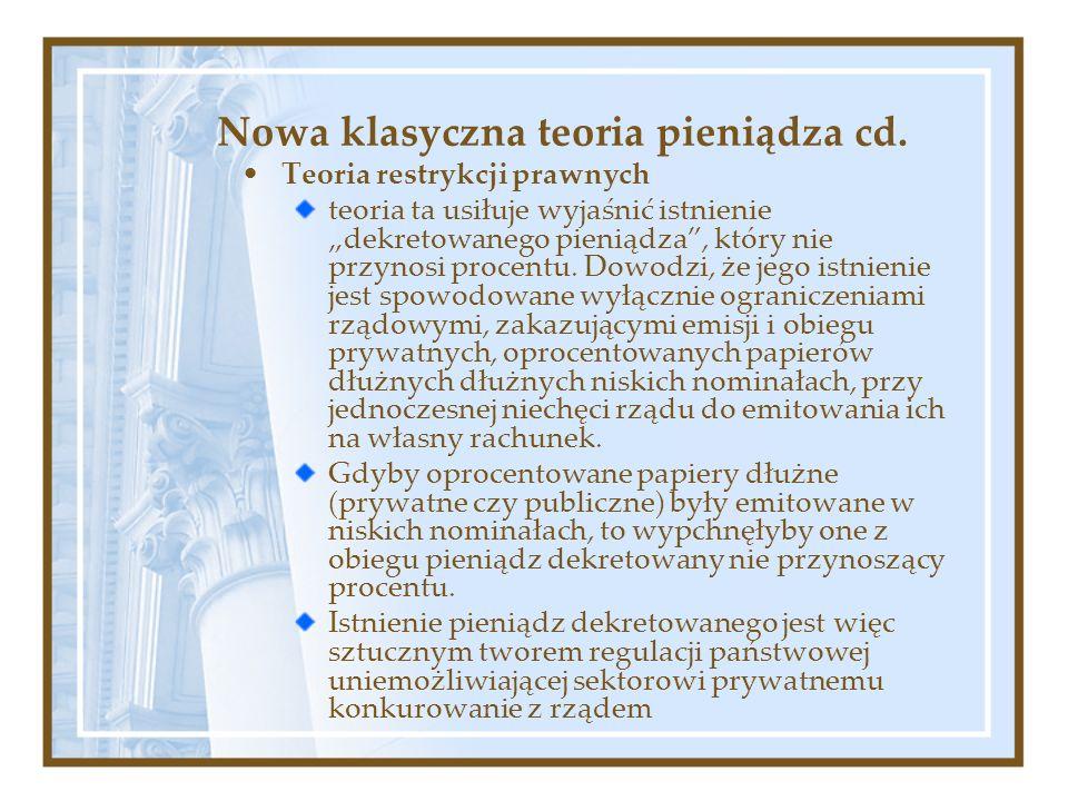 Nowa klasyczna teoria pieniądza cd. Teoria restrykcji prawnych teoria ta usiłuje wyjaśnić istnienie dekretowanego pieniądza, który nie przynosi procen