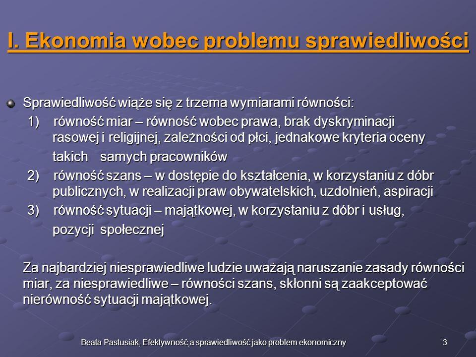 4Beata Pastusiak, Efektywność,a sprawiedliwość jako problem ekonomiczny II.