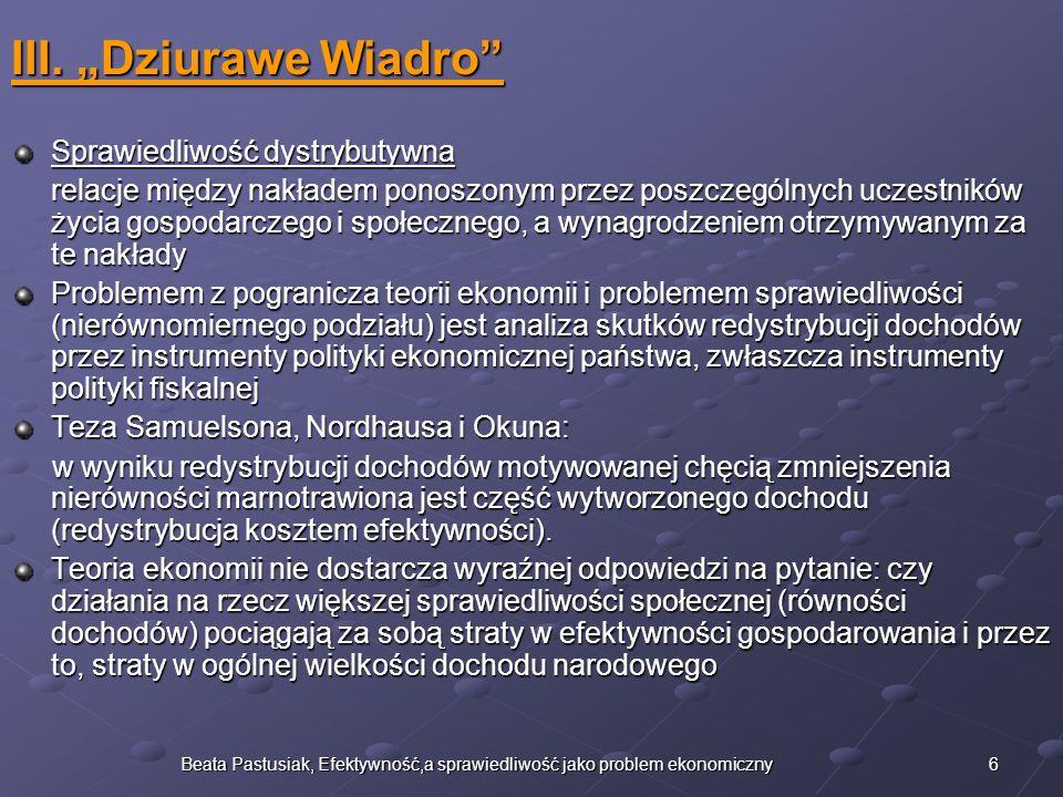 7Beata Pastusiak, Efektywność,a sprawiedliwość jako problem ekonomiczny IV.