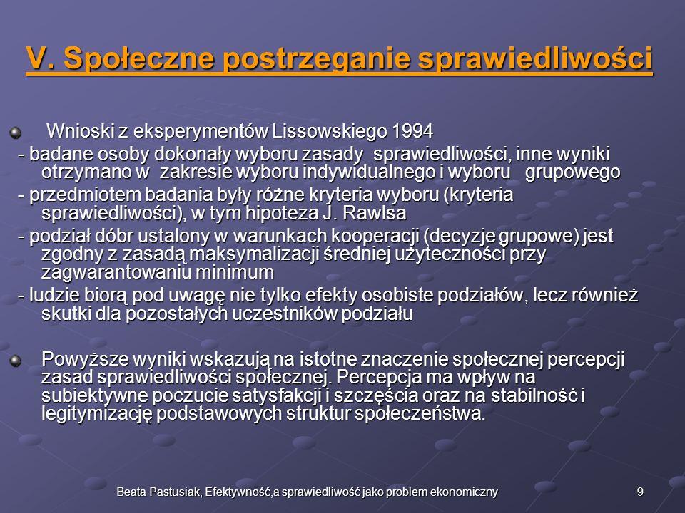9Beata Pastusiak, Efektywność,a sprawiedliwość jako problem ekonomiczny V. Społeczne postrzeganie sprawiedliwości Wnioski z eksperymentów Lissowskiego