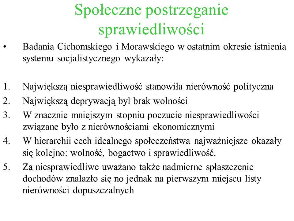 Społeczne postrzeganie sprawiedliwości Badania Cichomskiego i Morawskiego w ostatnim okresie istnienia systemu socjalistycznego wykazały: 1.Największą